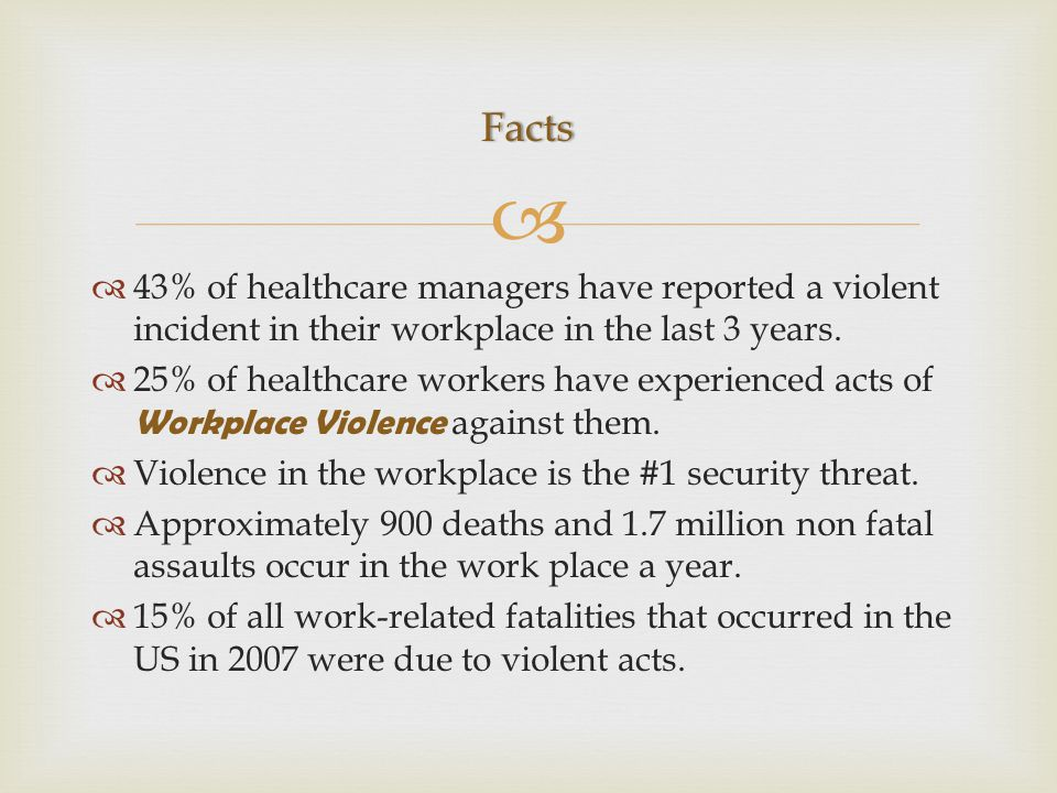   43% of healthcare managers have reported a violent incident in their workplace in the last 3 years.