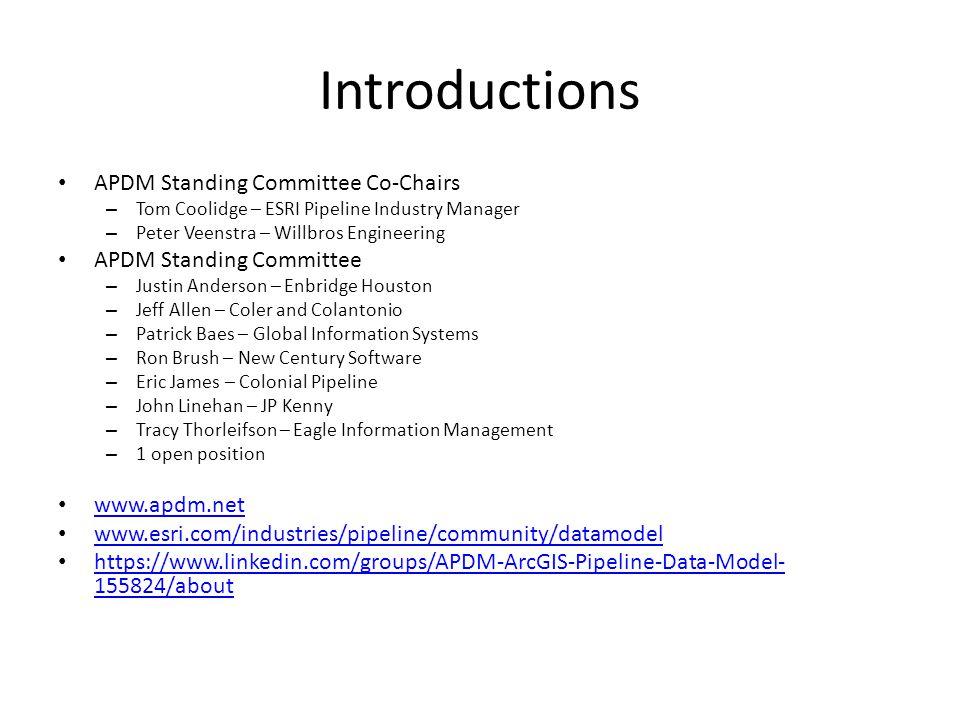 Overview Part 1 - Changes in APDM 6.0 Part 2 - ArcGIS Pipeline Data Model (APDM) Part 3 – APDM 6.0 in Enterprise Architect Part 4 - State of Data Models – ArcGIS Pipeline Data Model (APDM) – PODS Relational – PODS ESRI Spatial Part 5 - Thoughts on Pipeline Data Models