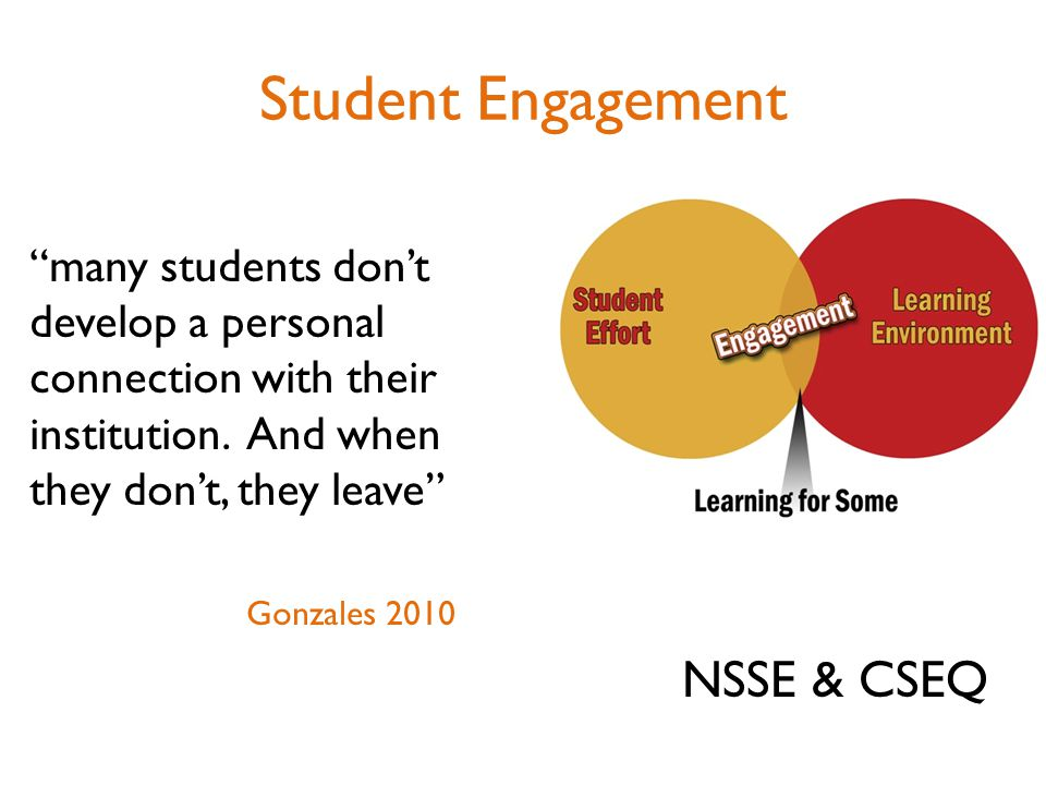Student Engagement many students don't develop a personal connection with their institution.