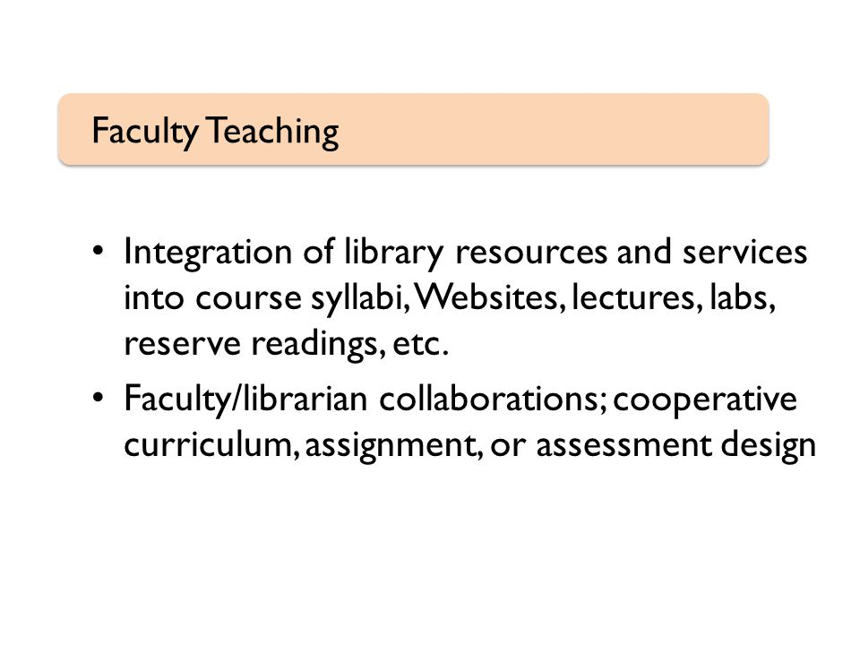 Integration of library resources and services into course syllabi, Websites, lectures, labs, reserve readings, etc.
