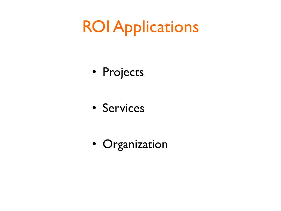 ROI Applications Projects Services Organization