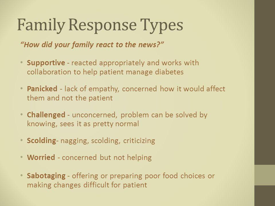 Family Response Types How did your family react to the news Supportive - reacted appropriately and works with collaboration to help patient manage diabetes Panicked - lack of empathy, concerned how it would affect them and not the patient Challenged - unconcerned, problem can be solved by knowing, sees it as pretty normal Scolding- nagging, scolding, criticizing Worried - concerned but not helping Sabotaging - offering or preparing poor food choices or making changes difficult for patient