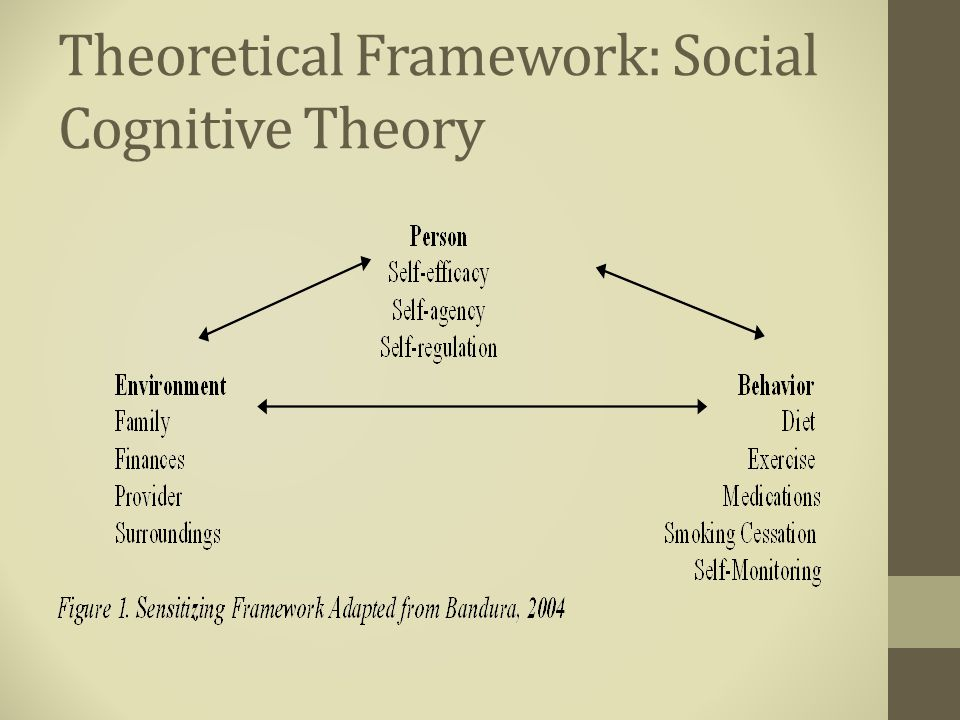 Study Design Qualitative, interpretative phenomenology Sensitizing framework: Social Cognitive Theory Purposive sampling Semi-structured Interview Guide