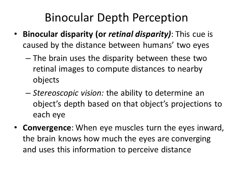 Binocular Depth Perception Binocular disparity (or retinal disparity): This cue is caused by the distance between humans' two eyes – The brain uses th