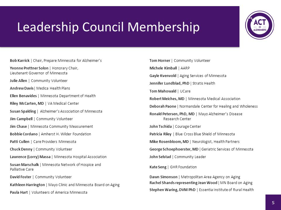 Leadership Council Membership Bob Karrick | Chair, Prepare Minnesota for Alzheimer's Yvonne Prettner Solon | Honorary Chair, Lieutenant Governor of Minnesota Julie Allen | Community Volunteer Andrew Davis| Medica Health Plans Ellen Benavides | Minnesota Department of Health Riley McCarten, MD | VA Medical Center Susan Spalding | Alzheimer's Association of Minnesota Jim Campbell | Community Volunteer Jim Chase | Minnesota Community Measurement Bobbie Cordano | Amherst H.