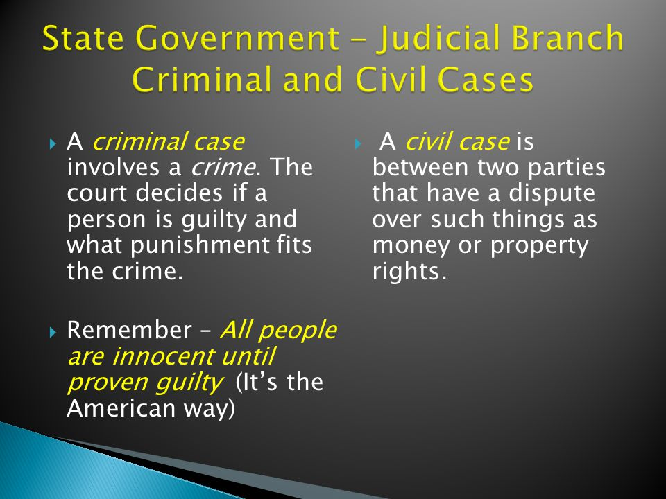  A criminal case involves a crime.