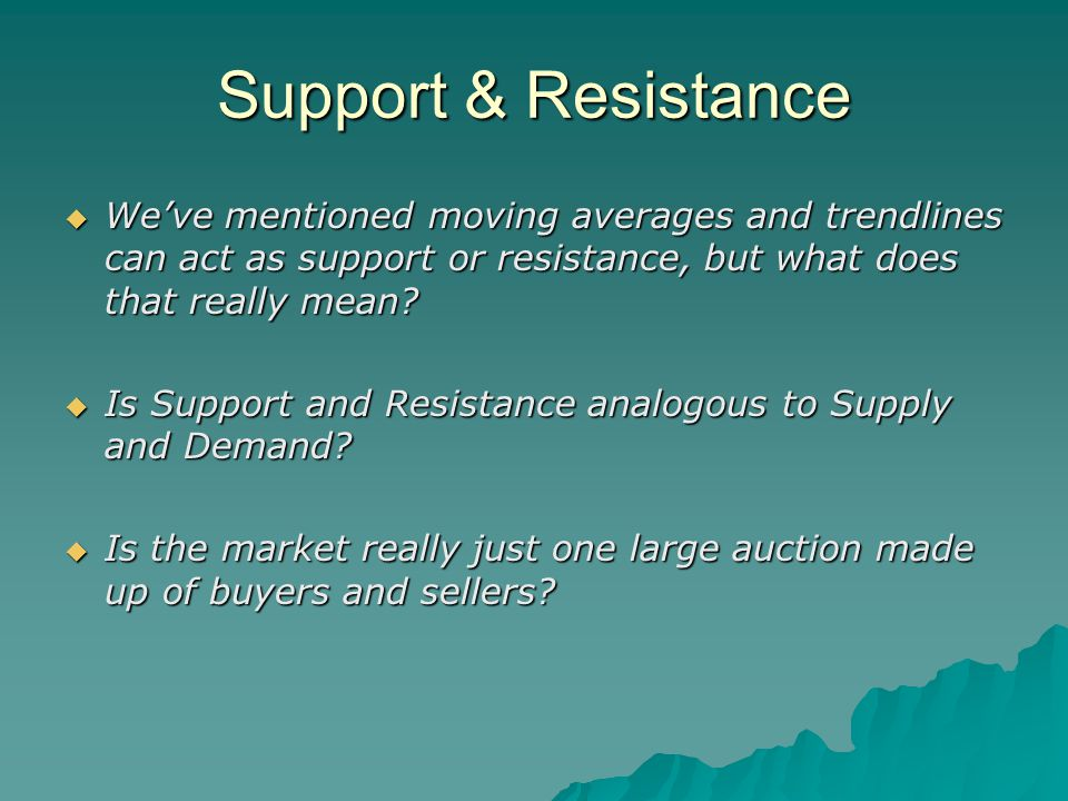 Support & Resistance  We've mentioned moving averages and trendlines can act as support or resistance, but what does that really mean.