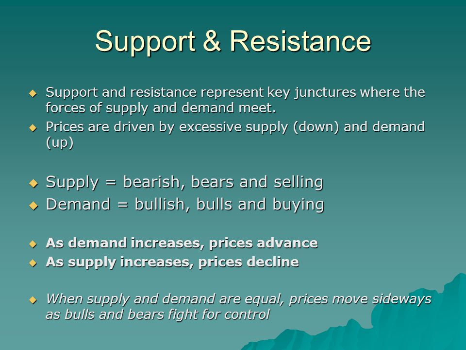Support & Resistance  Support and resistance represent key junctures where the forces of supply and demand meet.
