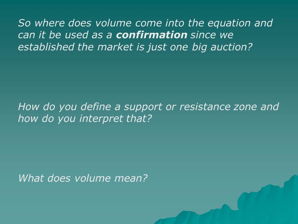 So where does volume come into the equation and can it be used as a confirmation since we established the market is just one big auction.