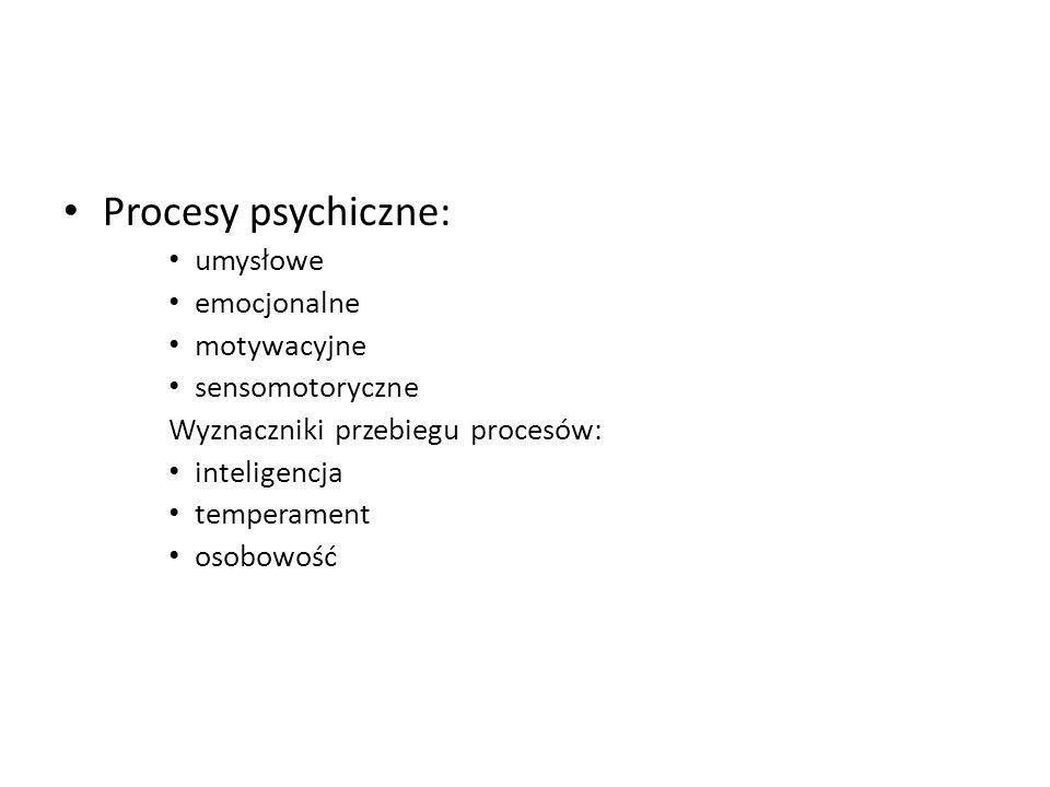 Procesy psychiczne: umysłowe emocjonalne motywacyjne sensomotoryczne Wyznaczniki przebiegu procesów: inteligencja temperament osobowość