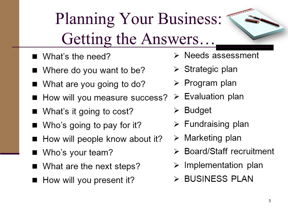 Planning Your Business: Getting the Answers… What's the need.
