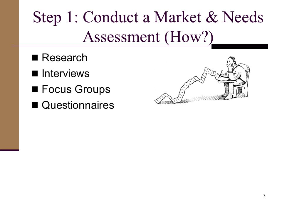 Step 1: Conduct a Market & Needs Assessment (How ) Research Interviews Focus Groups Questionnaires 7