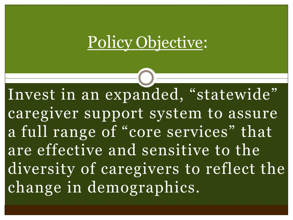 Invest in an expanded, statewide caregiver support system to assure a full range of core services that are effective and sensitive to the diversity of caregivers to reflect the change in demographics.
