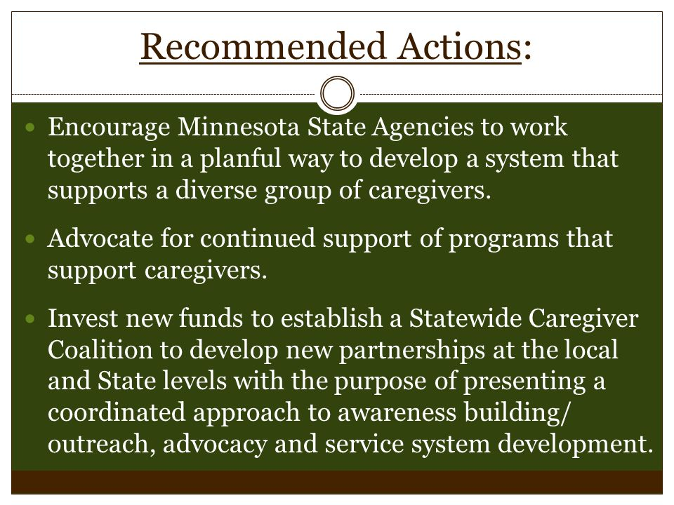 Recommended Actions: Encourage Minnesota State Agencies to work together in a planful way to develop a system that supports a diverse group of caregivers.