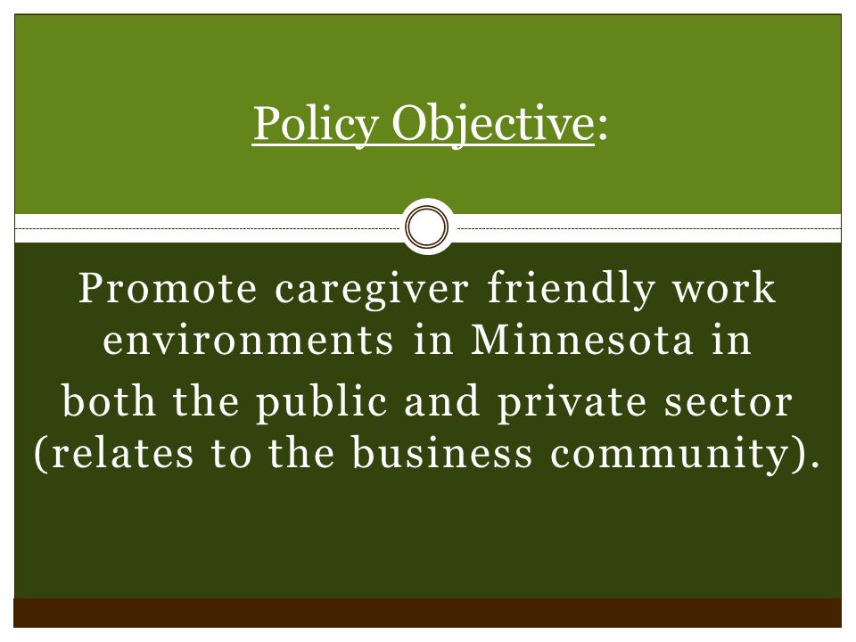 Promote caregiver friendly work environments in Minnesota in both the public and private sector (relates to the business community).