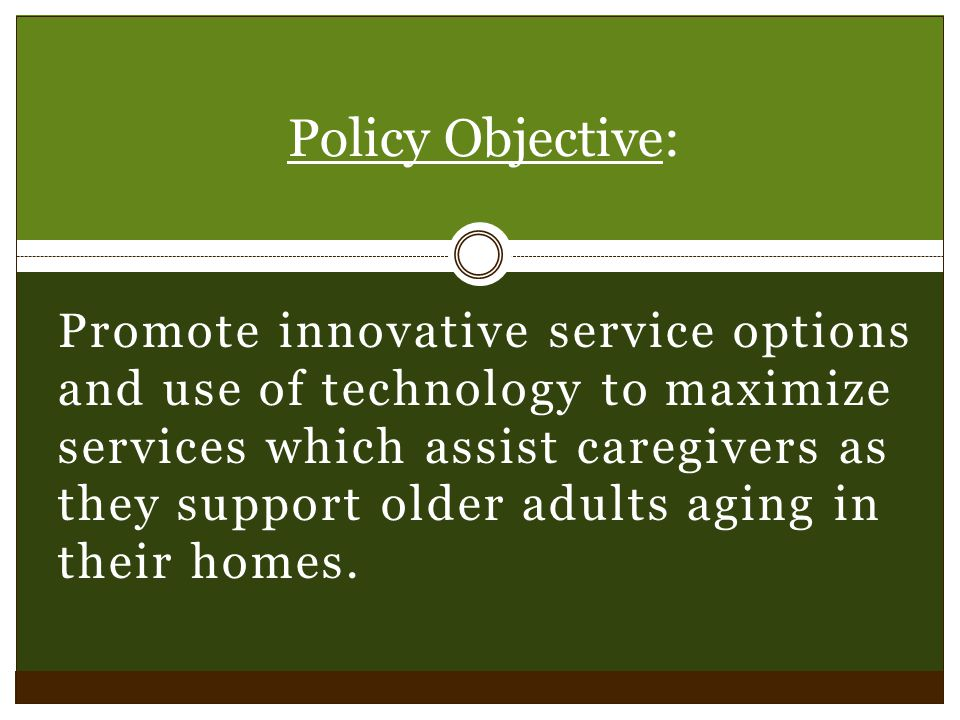 Promote innovative service options and use of technology to maximize services which assist caregivers as they support older adults aging in their home