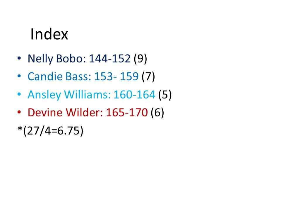 Index Nelly Bobo: 144-152 (9) Candie Bass: 153- 159 (7) Ansley Williams: 160-164 (5) Devine Wilder: 165-170 (6) *(27/4=6.75)