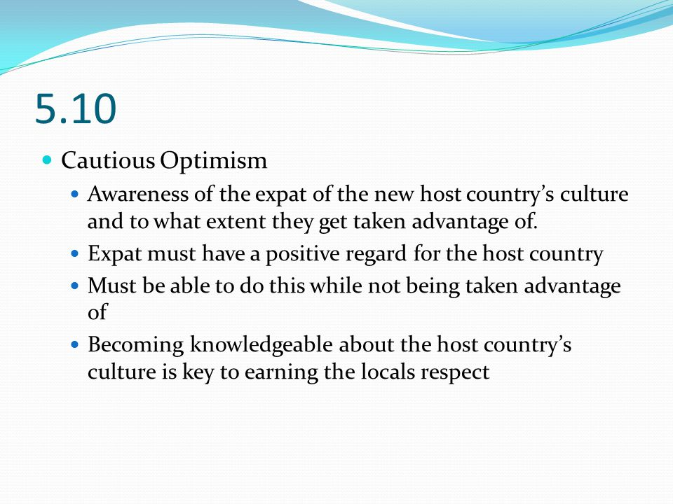 5.10 Cautious Optimism Awareness of the expat of the new host country's culture and to what extent they get taken advantage of.