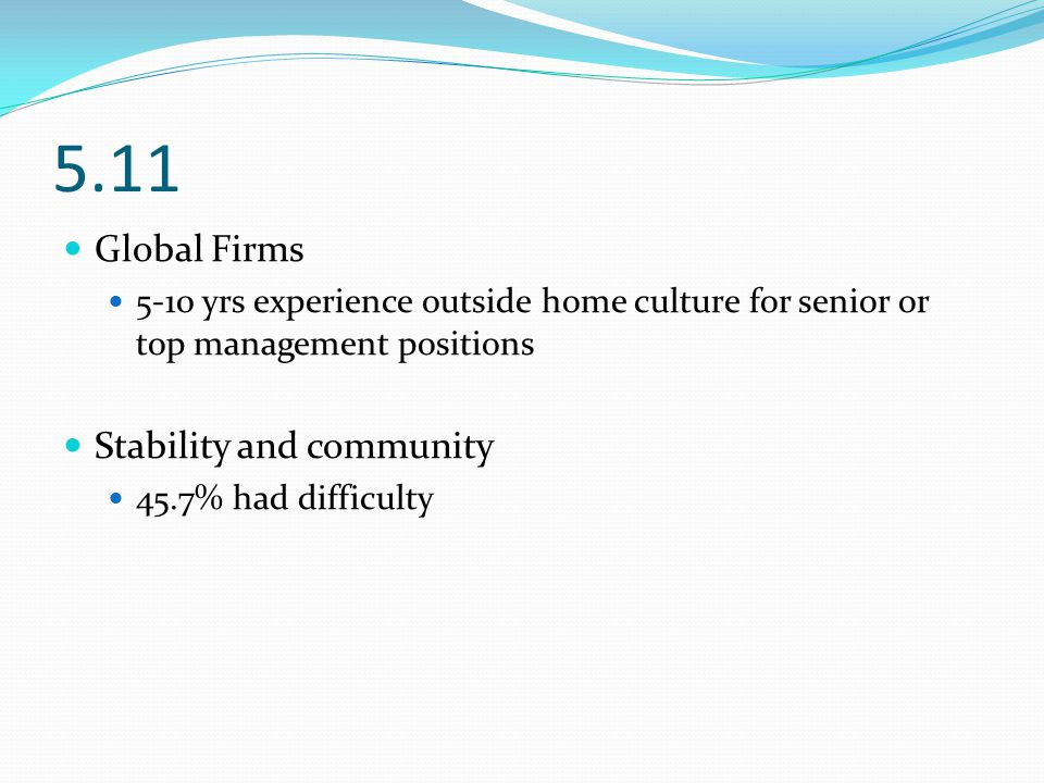 5.11 Global Firms 5-10 yrs experience outside home culture for senior or top management positions Stability and community 45.7% had difficulty