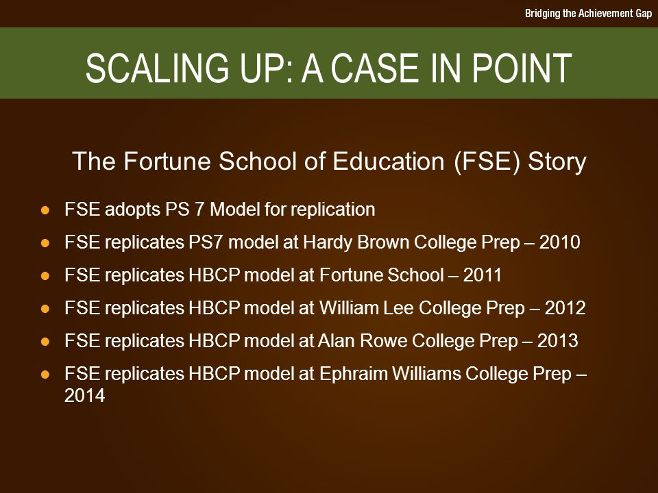 SCALING UP: A CASE IN POINT The Fortune School of Education (FSE) Story FSE adopts PS 7 Model for replication FSE replicates PS7 model at Hardy Brown College Prep – 2010 FSE replicates HBCP model at Fortune School – 2011 FSE replicates HBCP model at William Lee College Prep – 2012 FSE replicates HBCP model at Alan Rowe College Prep – 2013 FSE replicates HBCP model at Ephraim Williams College Prep – 2014