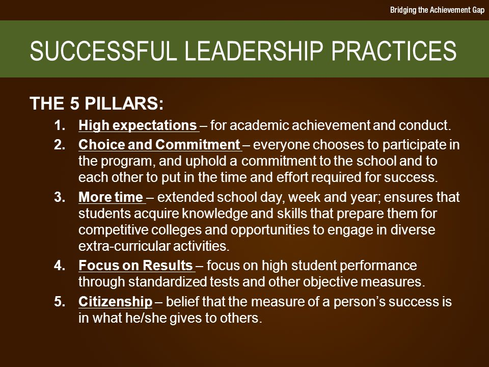 SUCCESSFUL LEADERSHIP PRACTICES THE 5 PILLARS: 1.High expectations – for academic achievement and conduct.