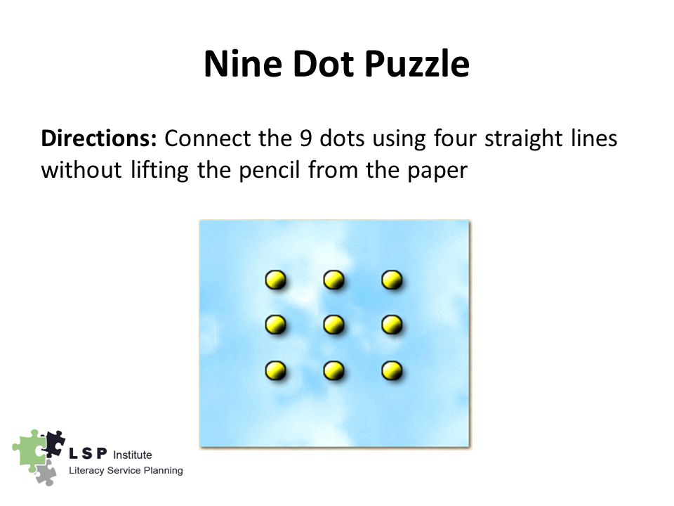 Nine Dot Puzzle Directions: Connect the 9 dots using four straight lines without lifting the pencil from the paper