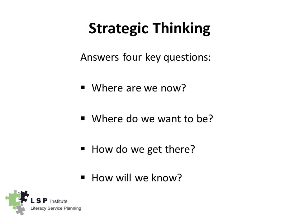 Strategic Thinking Answers four key questions:  Where are we now.