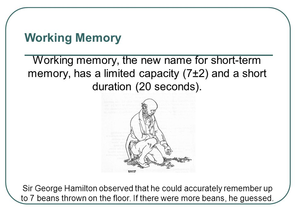 Working Memory Sensory Memory Working Memory Long-term Memory Encoding RetrievalEncoding Events Retrieval
