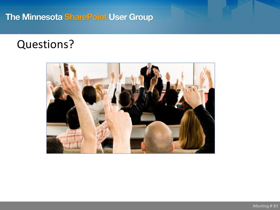 Meeting # 83 Questions