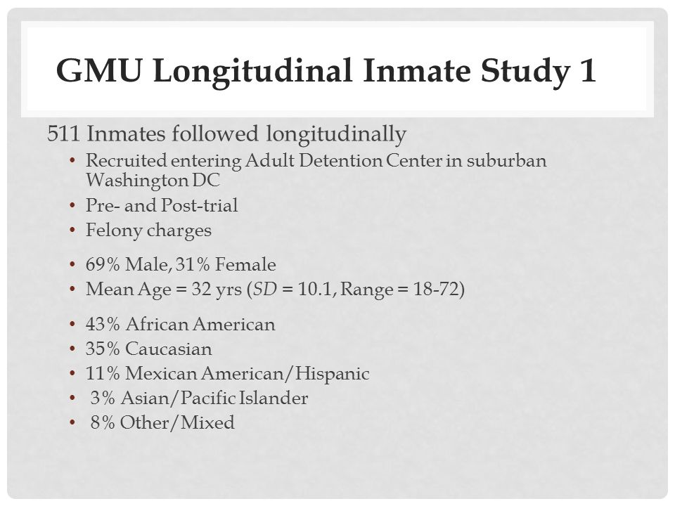 Inmate arrives at ADC Moved to General Population Phase I (Intake Assessment) 4 weeks Informed Consent Moral Emotions - Shame - Guilt - Empathy Moral Cognition - Criminogenic Cognitions Psychopathy IQ Strengths/Values - Spirituality - Optimism Drug/Alcohol Use HIV Risk Behavior Health Phase II (Period of Incarceration) 4 wks.