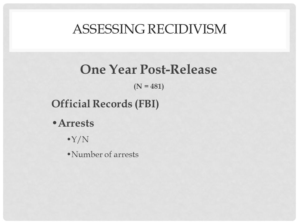 One Year Post-Release (N = 481) Official Records (FBI) Arrests Y/N Number of arrests The GMU Jail Inmate Studies ASSESSING RECIDIVISM
