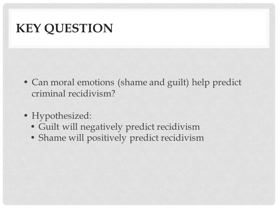 Shame and Guilt at Onset of Incarceration Predicting One-Year Post-Release Recidivism