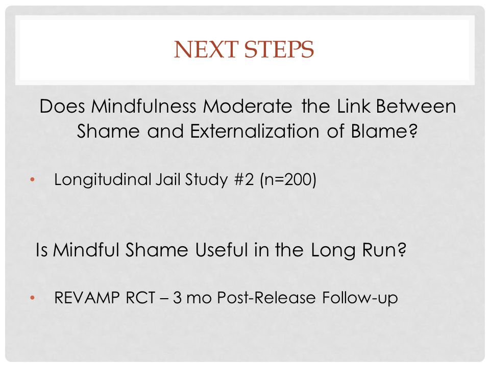 NEXT STEPS Does Mindfulness Moderate the Link Between Shame and Externalization of Blame? Longitudinal Jail Study #2 (n=200) Is Mindful Shame Useful i