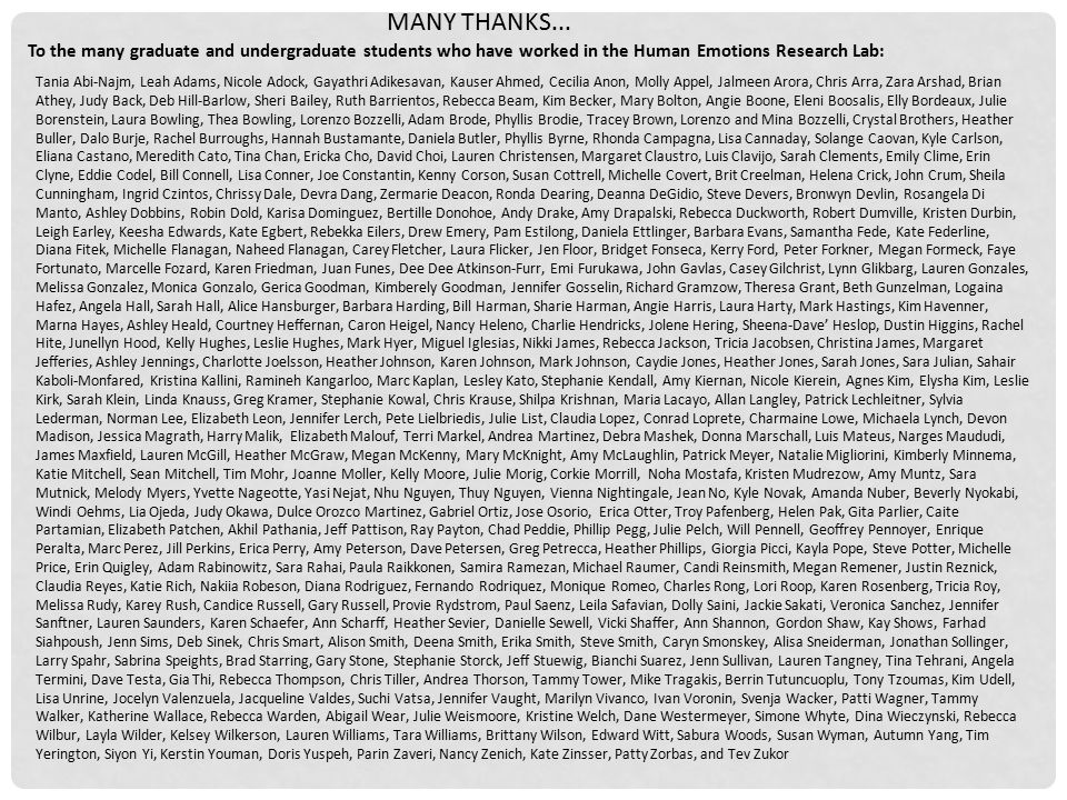 MANY THANKS... To the many graduate and undergraduate students who have worked in the Human Emotions Research Lab: Tania Abi-Najm, Leah Adams, Nicole