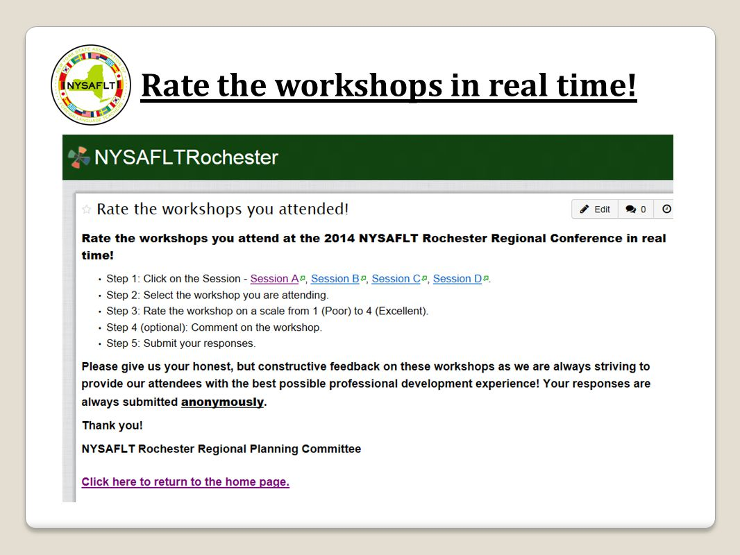 Rate the workshops in real time!