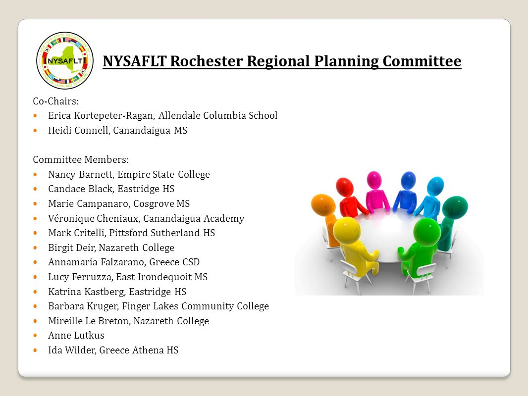 NYSAFLT Rochester Regional Planning Committee Co-Chairs: Erica Kortepeter-Ragan, Allendale Columbia School Heidi Connell, Canandaigua MS Committee Mem