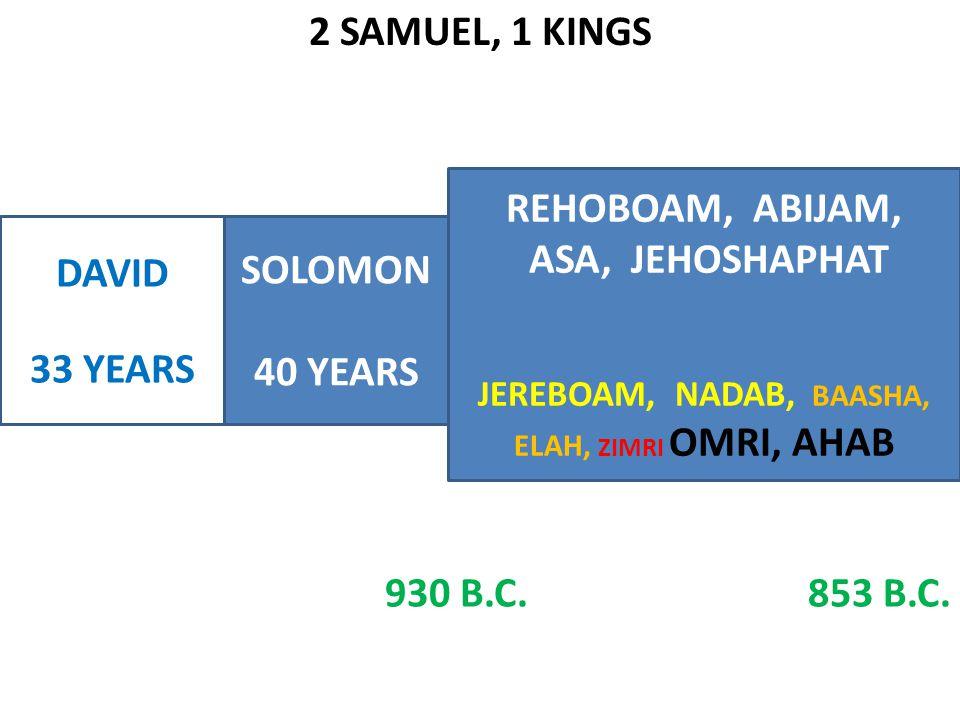 2 SAMUEL, 1 KINGS DAVID 33 YEARS SOLOMON 40 YEARS REHOBOAM, ABIJAM, ASA, JEHOSHAPHAT JEREBOAM, NADAB, BAASHA, ELAH, ZIMRI OMRI, AHAB 930 B.C.853 B.C.