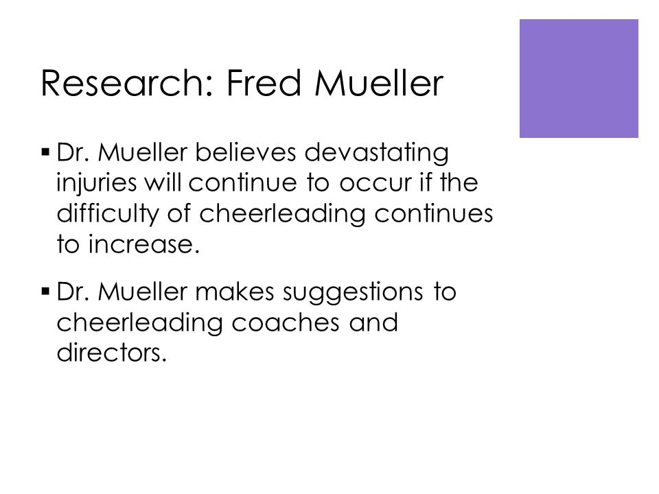 Research: Fred Mueller  Dr.
