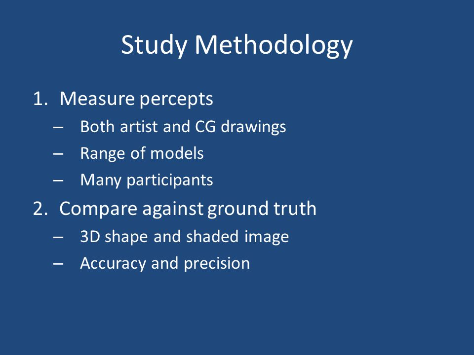 Study Methodology 1.Measure percepts – Both artist and CG drawings – Range of models – Many participants 2.Compare against ground truth – 3D shape and
