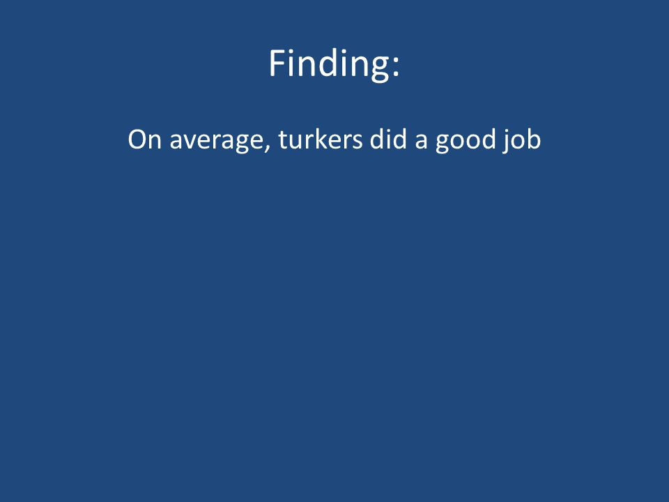 Finding: On average, turkers did a good job