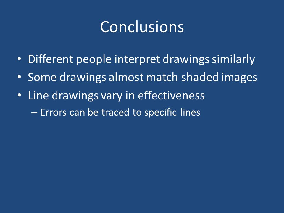 Conclusions Different people interpret drawings similarly Some drawings almost match shaded images Line drawings vary in effectiveness – Errors can be