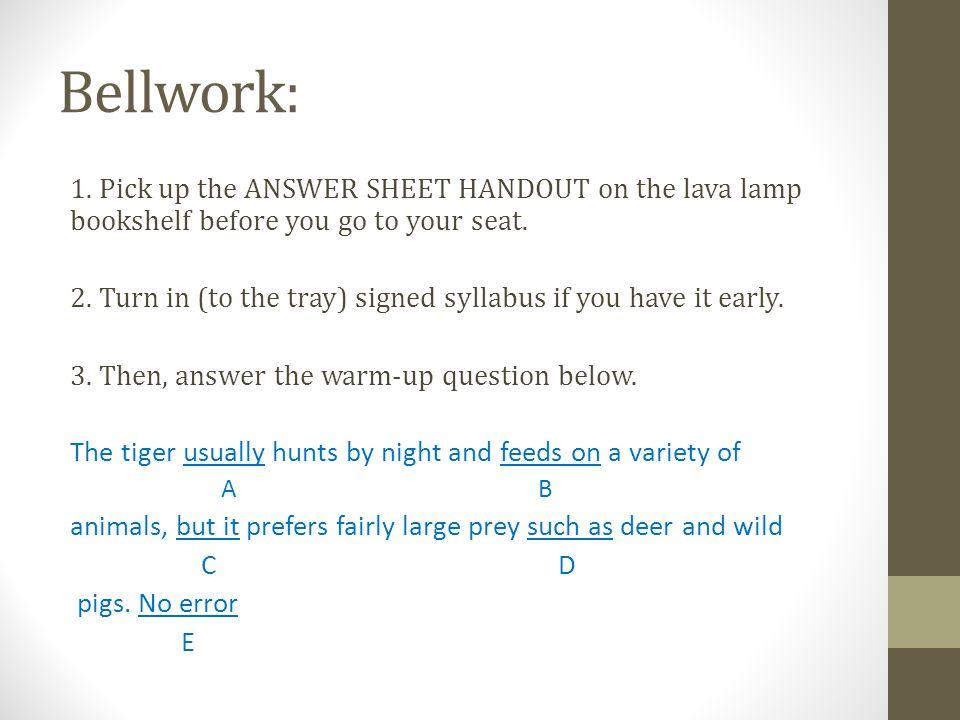 Bellwork: 1.