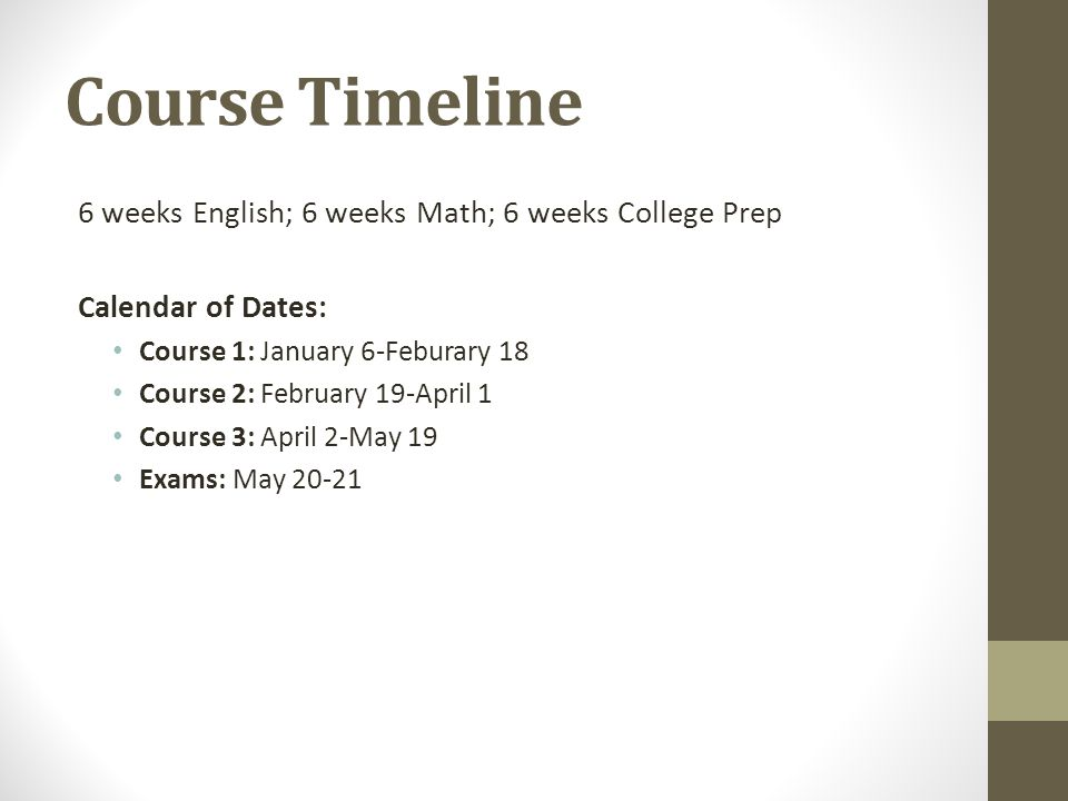 Course Timeline 6 weeks English; 6 weeks Math; 6 weeks College Prep Calendar of Dates: Course 1: January 6-Feburary 18 Course 2: February 19-April 1 Course 3: April 2-May 19 Exams: May 20-21
