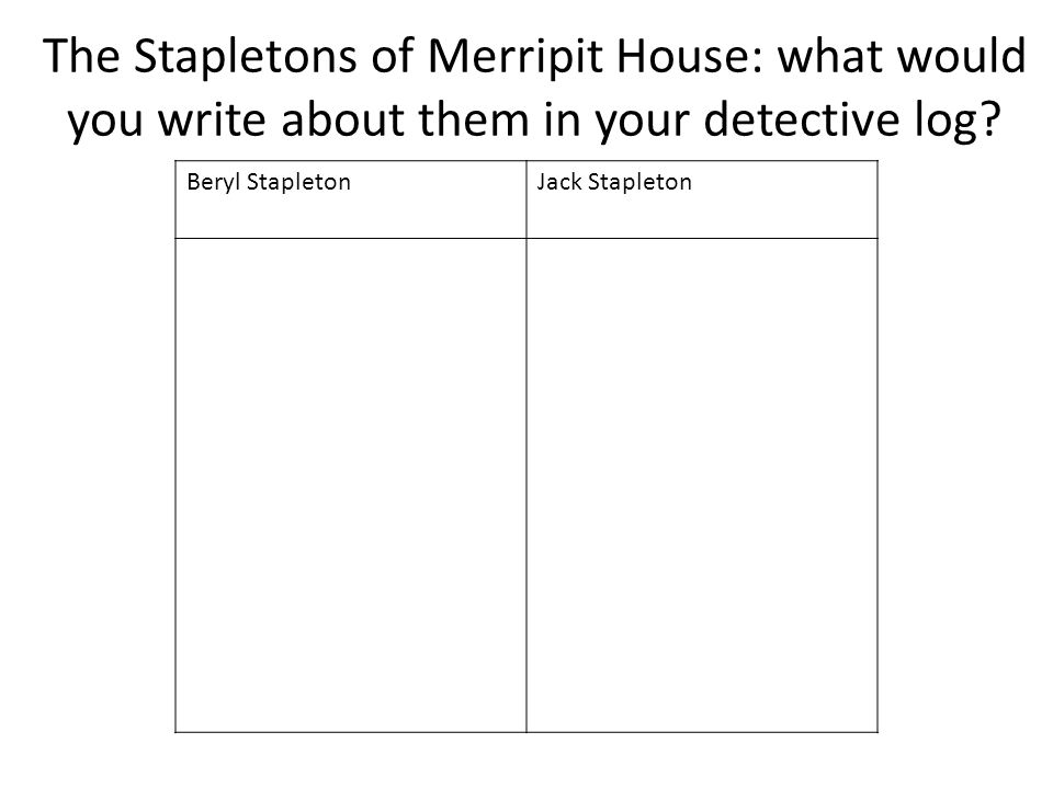The Stapletons of Merripit House: what would you write about them in your detective log? Beryl StapletonJack Stapleton