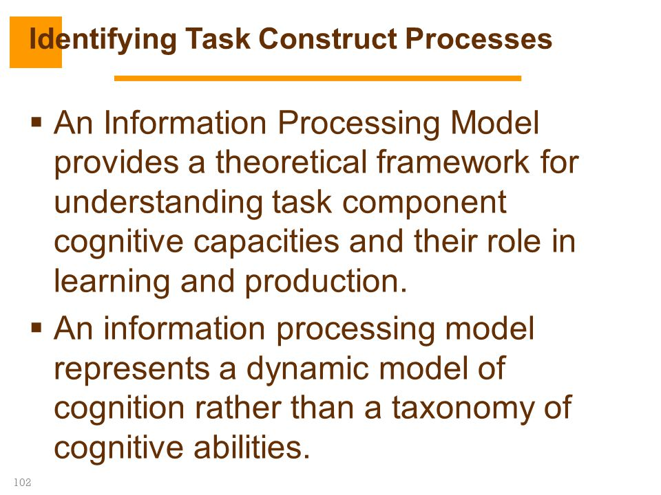 102  An Information Processing Model provides a theoretical framework for understanding task component cognitive capacities and their role in learnin