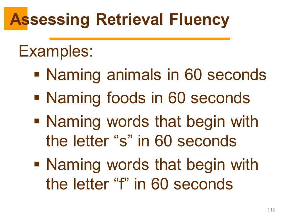 """112 Examples:  Naming animals in 60 seconds  Naming foods in 60 seconds  Naming words that begin with the letter """"s"""" in 60 seconds  Naming words t"""