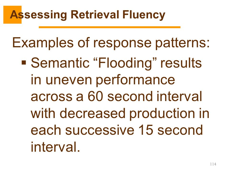 """Examples of response patterns:  Semantic """"Flooding"""" results in uneven performance across a 60 second interval with decreased production in each succe"""