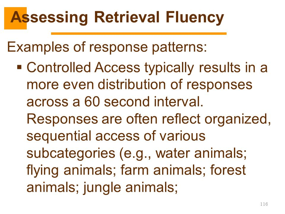 116 Examples of response patterns:  Controlled Access typically results in a more even distribution of responses across a 60 second interval. Respons