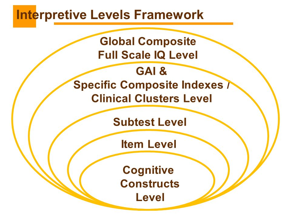 Cognitive Constructs Level Item Level Subtest Level GAI & Specific Composite Indexes / Clinical Clusters Level Global Composite Full Scale IQ Level In