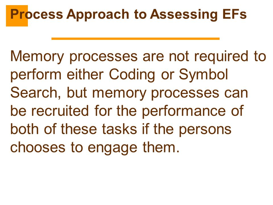 Memory processes are not required to perform either Coding or Symbol Search, but memory processes can be recruited for the performance of both of thes